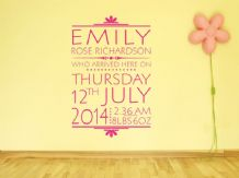 PERSONALISED Date Of Birth Nursery Newborn Wall Sticker, Decal, Modern Transfer